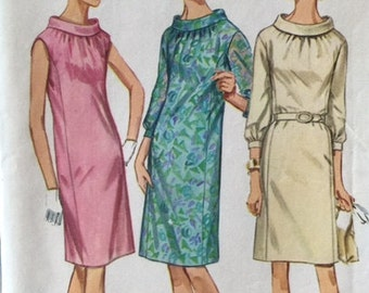 Vintage 60s Roll Collar Princess Seam Bishop Sleeve Sleeveless Shift Dress Sewing Pattern Simplicity 7099 B34