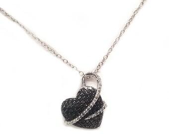 Black Diamond Heart Pendant in Sterling Silver w/ White Diamonds on Chain