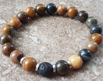 Men's bracelet stretchy gemstone jewelry NZ00034