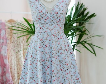 Blue floral bridesmaid dress prom dress sundress vintage 50's party dress floral sundress Blue tea dress summer dress short bridesmaid dress