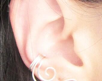 Sterling Silver Ear Lobe Cubic Zirconia Swirl Ear Cuff