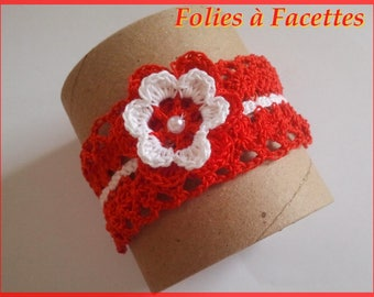 Cotton red and white crochet flower with lace Cuff Bracelet