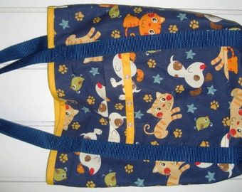 Animal Tote Bag Blue with Yellow and Orange Cats and White Dogs