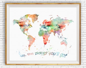 Oh the Places You'll Go, Wall Art, World Map Print, World Map Poster, Nursery Wall Art, Nursery Art ArtPrintZone Gift for Women