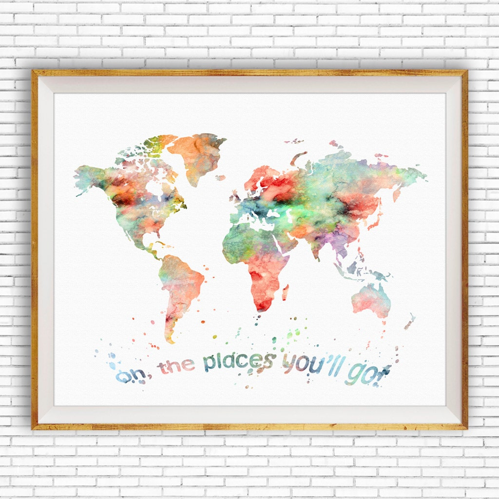 Oh the places youll go wall art world map print world map poster oh the places youll go wall art world map print world map poster nursery wall art nursery art artprintzone gift for women gumiabroncs Gallery