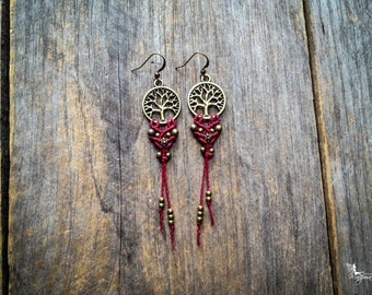 Tree of life macrame earrings customized boho chic jewelry by Creations Mariposa