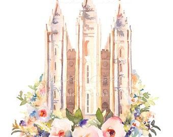LDS Salt Lake Temple Painting Watercolor Floral Print