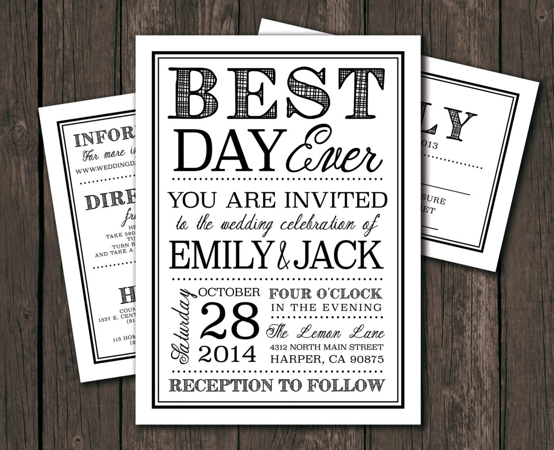 Downloadable Wedding Invitation Templates: Wedding Invitation Template Printable DIY Modern Wedding