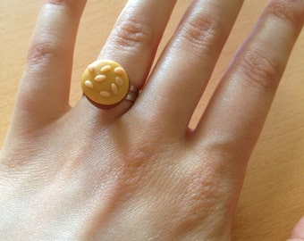 Handmade polymer clay burger ring with an adjustable back