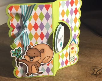 Thank you squirrel green and rainbow argyle Handmade Greeting Card