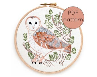 Barn Owl Embroidery Hoop Art Pattern, PDF Download Bird Hand Embroidery Pattern