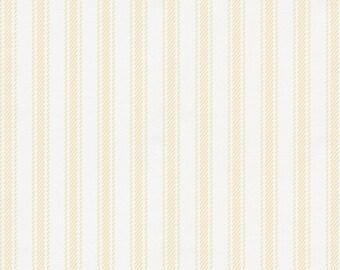 Pale Yellow Ticking Stripe Organic Fabric - By The Yard - Boy / Modern / Fabric