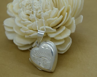Sterling Silver Locket with Design Includes Chain