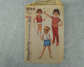 Simplicity Sewing Pattern 5014 child's top pants shorts from the 1950s