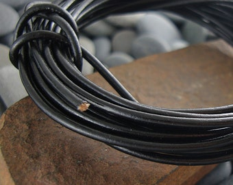 Black Leather Cord, Greek Leather Cord, Genuine Leather Cord, 2mm  Leather Cord, Round Leather Cord