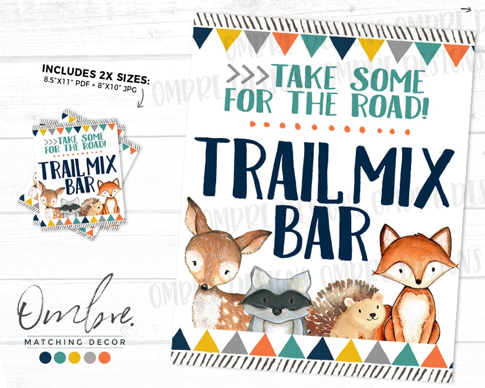 Trail Mix Bar Sign Woodland Baby Shower Woodland Party