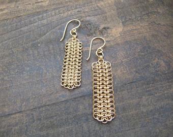 Statement earrings, Long earrings, Gold earrings, Statement gold earrings, Drop gold earring, Long gold earrings, Chainmaille jewelry, Boho