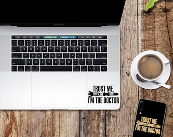 Doctor Who decal; trust me I'm the doctor glitter sticker for laptop, macbook, car, notebook, tablet, phone, mac