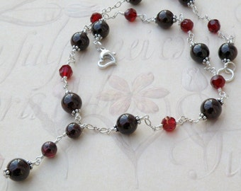 Garnet Necklace, Sterling Silver, Red Stone Jewelry, Burgundy Y Necklace, Drop Pendant, January Birthday, Birthstone Christmas Jewelry