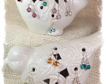 Swarovski Crystal Birthstone Earrings, Swarovski Channel Earrings, Swarovski Crystal Charm Earrings, Custom Earrings, Birthstone Earrings