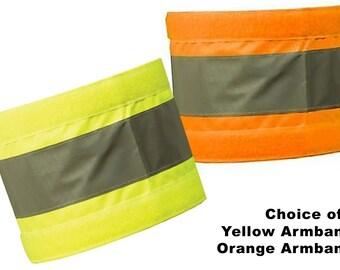 Reflective Armbands Wide Reflective Sports Safety Hi Visibility Walking ID  Yellow 0r Orange