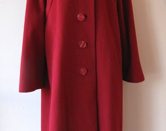 Red Wool Coat with Mink Collar