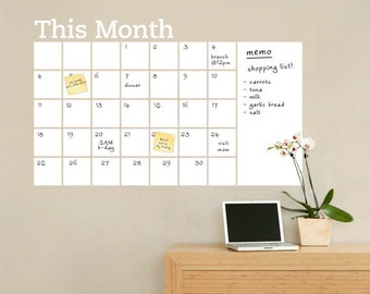 Dry Erase Wall Calendar with Memo - Vinyl Wall Decal  sc 1 st  Etsy & Daily Dot Dry Erase Wall Calendar Vinyl Wall Decal