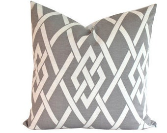 Outdoor Pillow Cover in Geometric Pewter Grey and Ivory