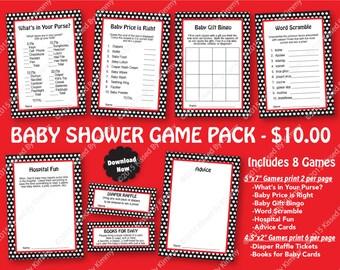 Red Black Baby Shower Game Pack - 70% OFF -PRINTABLE Girl Shower Games- 8 Pack -Black Red Polka Dot Ladybug Party Decor Diaper Raffle 21-2