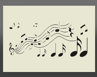 Music Notes Stencil - Various Sizes -Made From High Quality Mylar