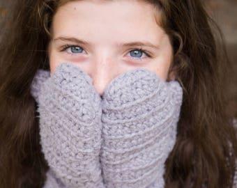 Gray Bamboo Crochet Handmade Mittens - Limited Edition!