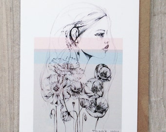 A6 THANK YOU card - with 'Poppy' illustration - by Holly Sharpe