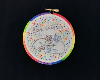 Love Cats - mini embroidery hoop