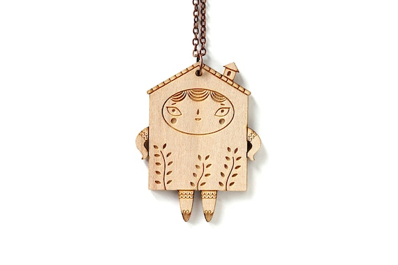 House pendant - doll necklace - tiny house character with plants - cute wooden jewelry - kawaii jewellery - lasercut wood - lasercutting