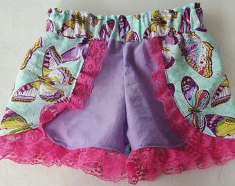 Butterfly and lace shorts/ Coachella shorts/ lacey shorts/ summertime bottoms/ summer/ spring/ boutique shorts/ 3T / pink, purple, teal