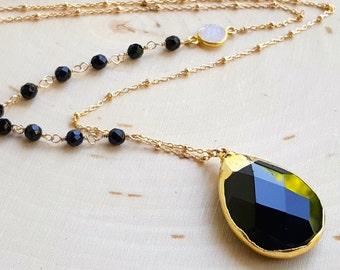 Black Agate Drop Necklace