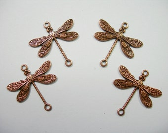 Copper Plated Dragonfly Victorian Earring Drops Findings Stampings -4