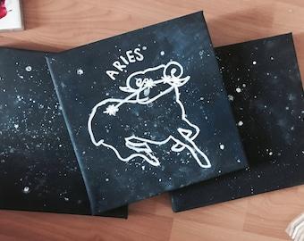 ASTROLOGY STAR SIGN Canvas 20x20cm Square Painting Aries Taurus Gemini Cancer Leo Virgo Libra Scorpio Sagittarius Capricorn Aquarius Pisces
