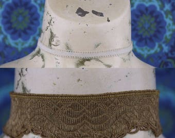 Two CHOKERS Bronze Vintage Lace // Victorian // Adjustable