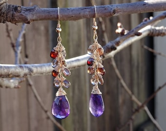 Mix color Garnet with amethyst drop earring