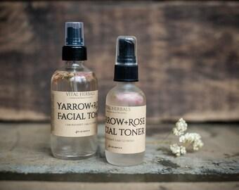 Yarrow face toner - rosewater toner - facial tone - rose toner - rose water toner - face toner - organic toner - vegan toner