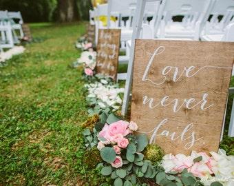 Full Set Corinthians Aisle Signs - Set of 7 - Wooden Wedding Signs - Wood - 1 corinthians 13 sign