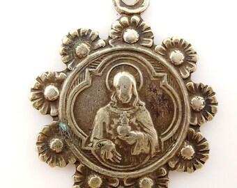 Vintage Scapular Medal Floral Frame Holy Redeemer Sacred Heart Carmel