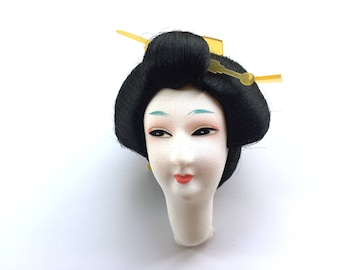 Vintage Japanese Doll Head - Woman With Hair Decorations  - D16-2