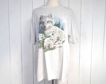 90s Wolf Tshirt Light Heater Gray Graphic Print Vintage Woodland Tee Large L / Extra Large XL