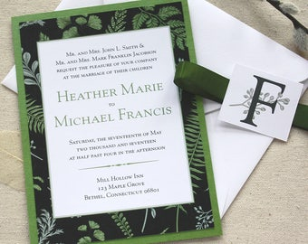 Greenery Wedding Invitation  |  Herb Wedding Invitation  |  Fern Invitation  |  Garden Wedding