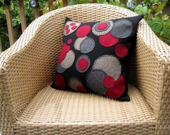 Wool Throw Pillow in Black and Red Penny Rug Variation