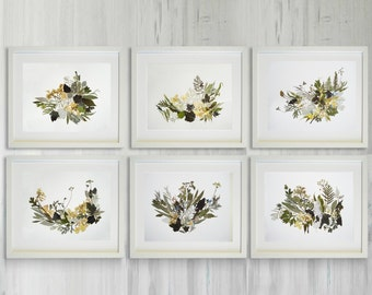 Botanical print set Dried flower pictures Plant art Flower art Pressed flowers Fine art prints flower set dried flowers wall art set herbier