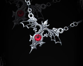 Gothic necklace with swarovski, The Countess Oren, gothic pendant, gothic jewelry, victorian jewelry, steampunk necklace spiderweb