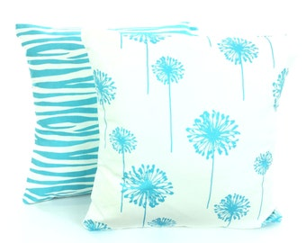 Aqua Decorative Throw Pillow Covers, Cushion Covers, Aqua Girly Blue on White Decorative Throw Pillow Couch Bed, Set of Two Various Sizes